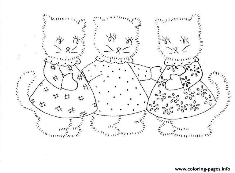 Three Pregnant Kittens Animal coloring pages