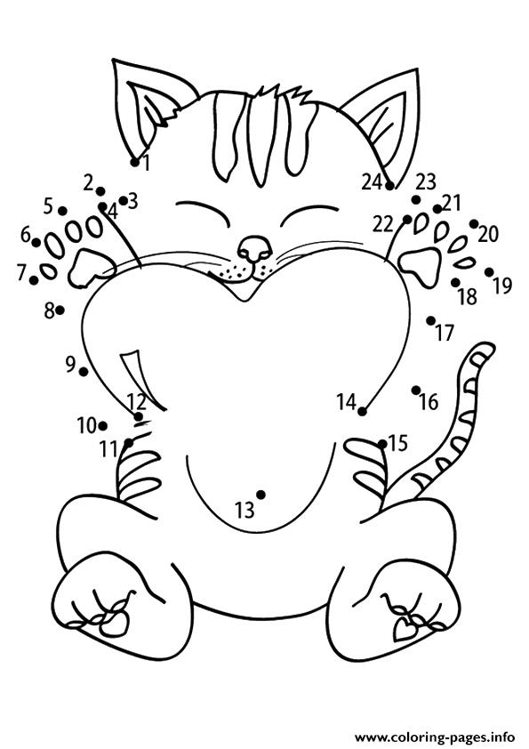 The Connect The Dots Kitten coloring pages