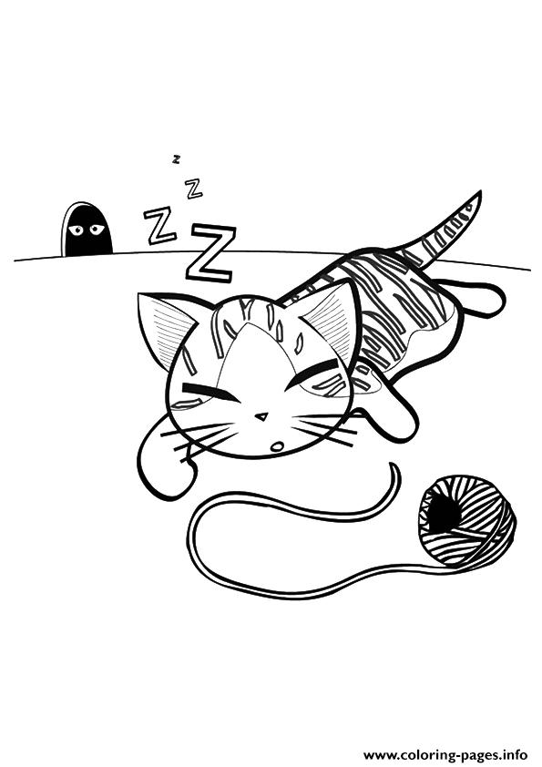 The Kitty Sleeping Kitten coloring pages