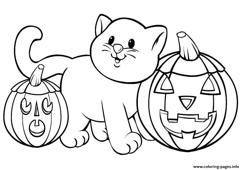 Pumpkin Cat Printable Halloween S1b01 Coloring Pages Printable