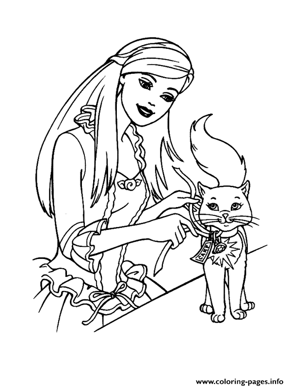 Barbie And Her Little Cat Animal S1cd8 Coloring Pages Printable