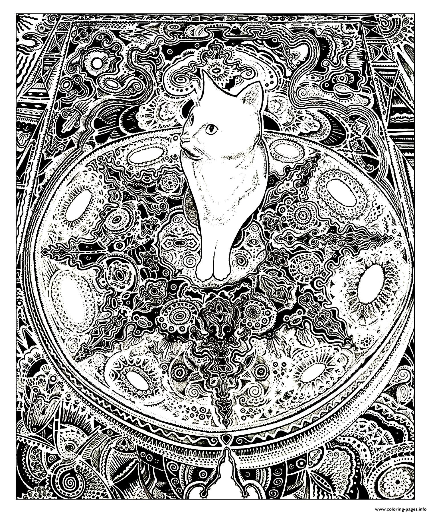 Kitten cat on carpet coloring pages printable for Carpet coloring pages