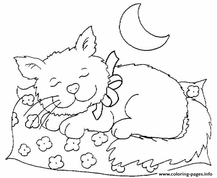 cat dreaming coloring pages - photo#15