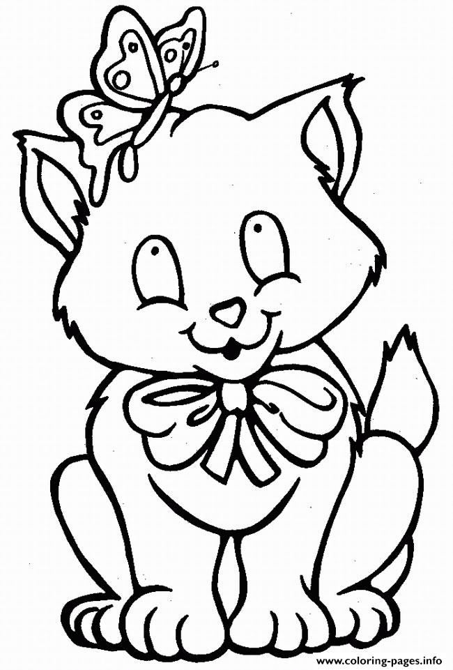 Cat With Butterfly On His Head Animal S37da Coloring Pages Printable