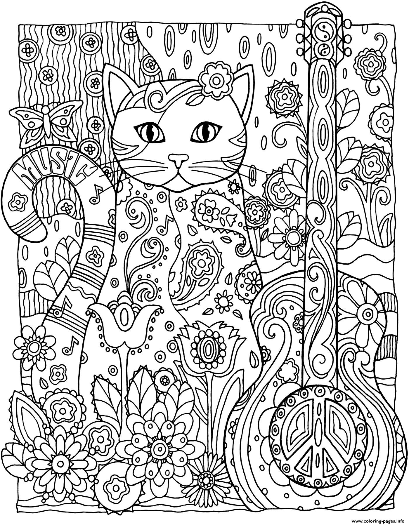 kitten cat guitar coloring pages printable