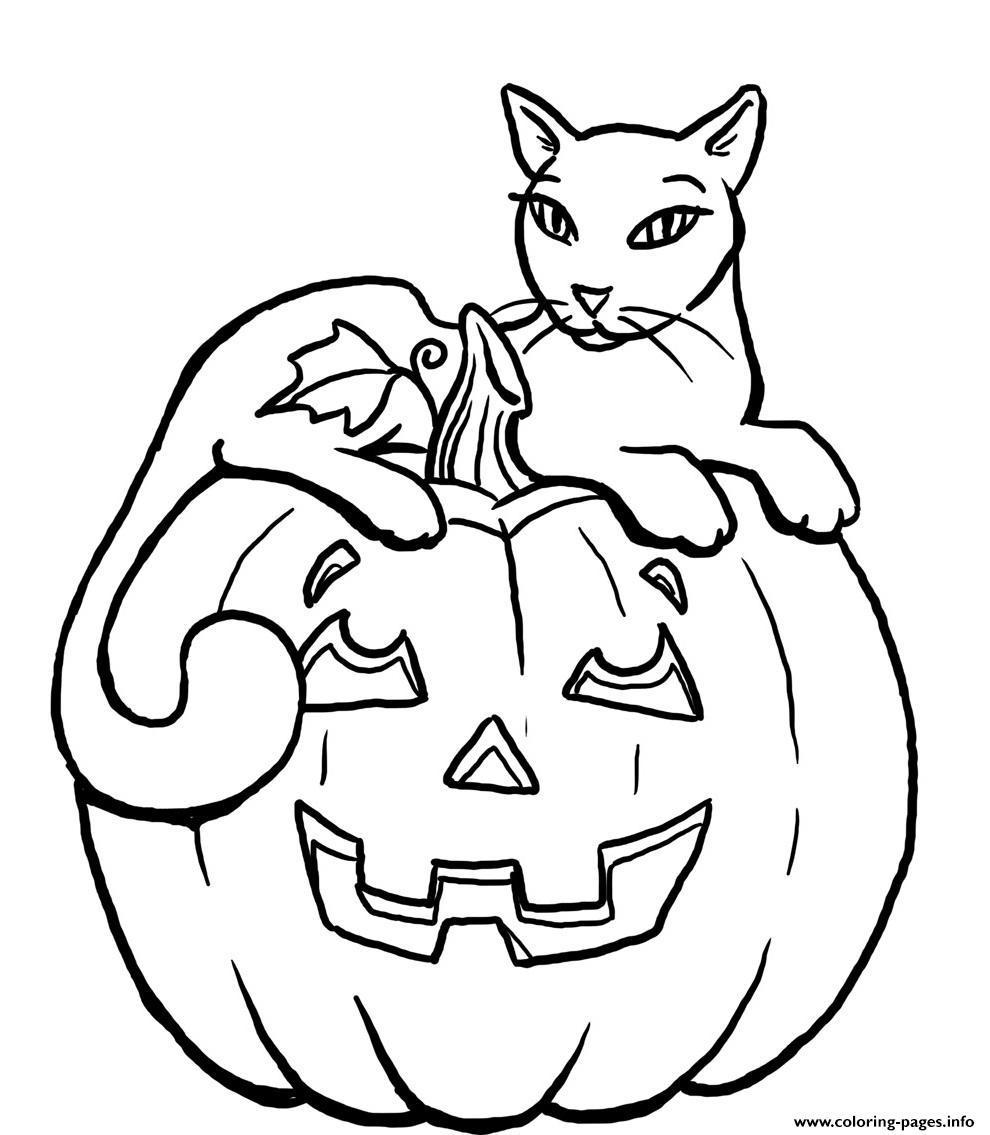 cat in a pumpkin halloween coloring page pumpkin black cat s for kidsc3f2 coloring pages 7985