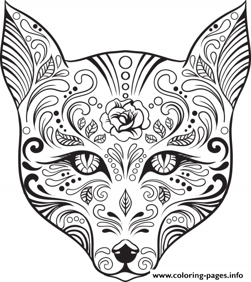 Advanced Cat Sugar Skull Coloring Pages Printable
