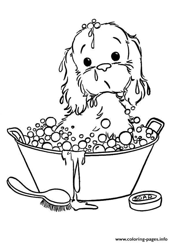 The Puppy Taking A Bubble Bath Puppy Coloring Pages Printable