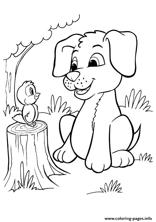 the pup and bird puppy coloring pages printable