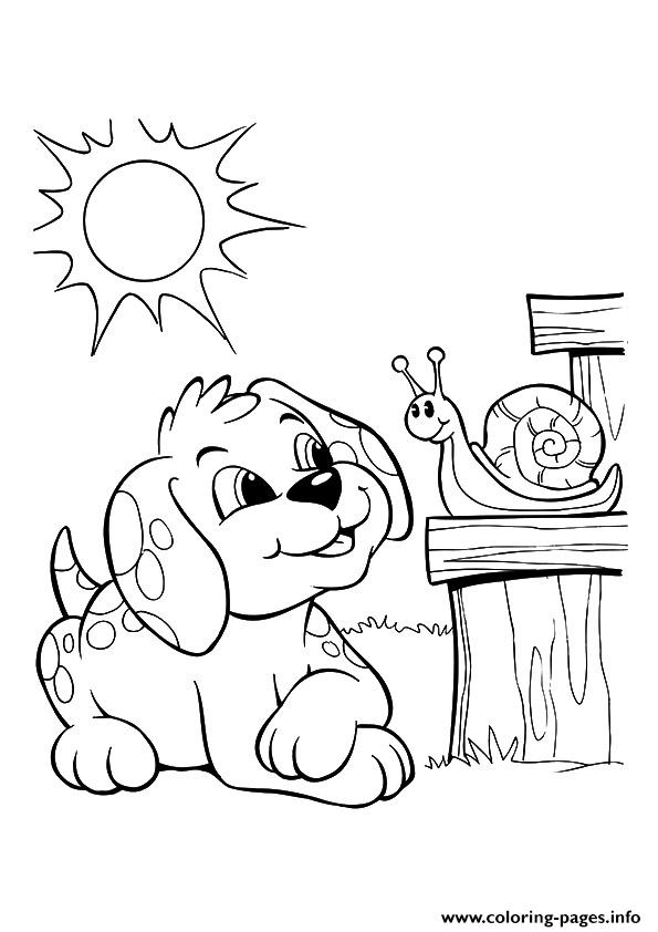 The Pup And Snail Bonding Puppy Coloring Pages Printable