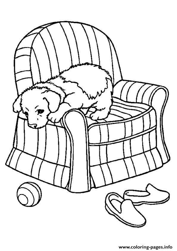 The Pup On A Sofa puppy Coloring pages Printable