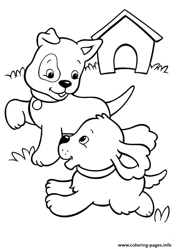 The Pups Playing Puppy Coloring Pages Printable