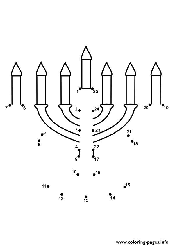 The Menorah Dot To Dot Coloring Pages Printable