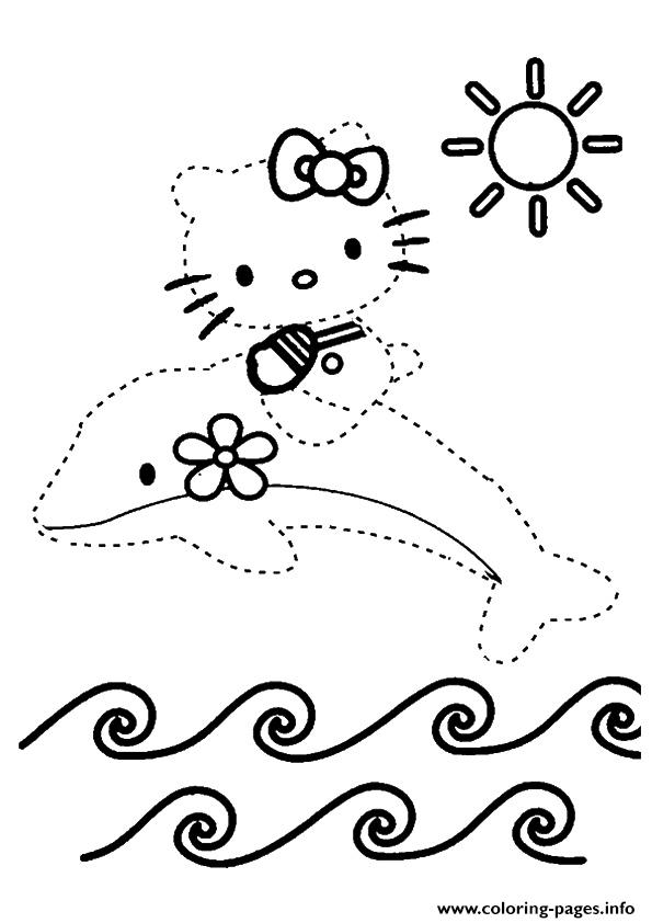 The Hello Kitty Dot To Dot Coloring Pages Printable