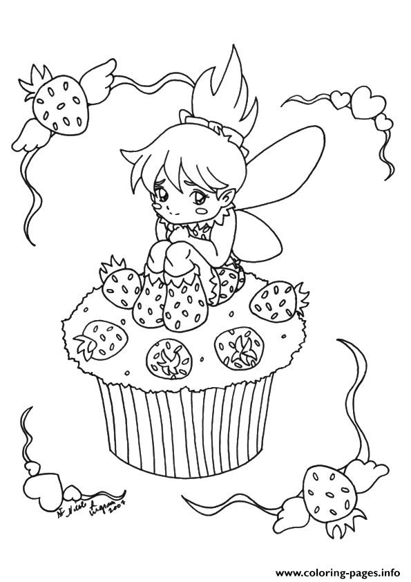 The Little Fairy Cupcake Coloring pages Printable