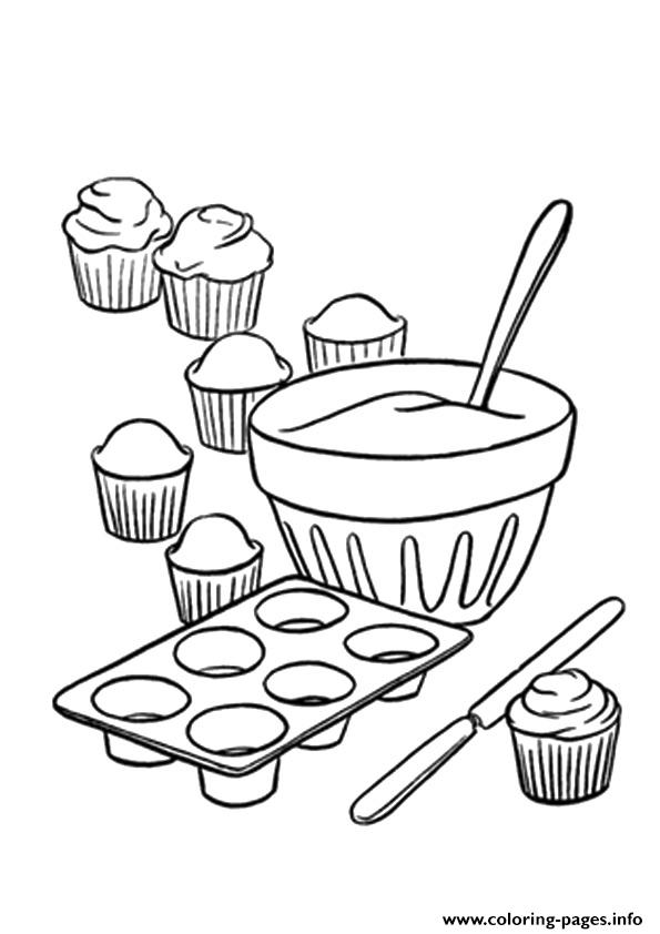 The How To Make Cupcakes Coloring Pages Printable