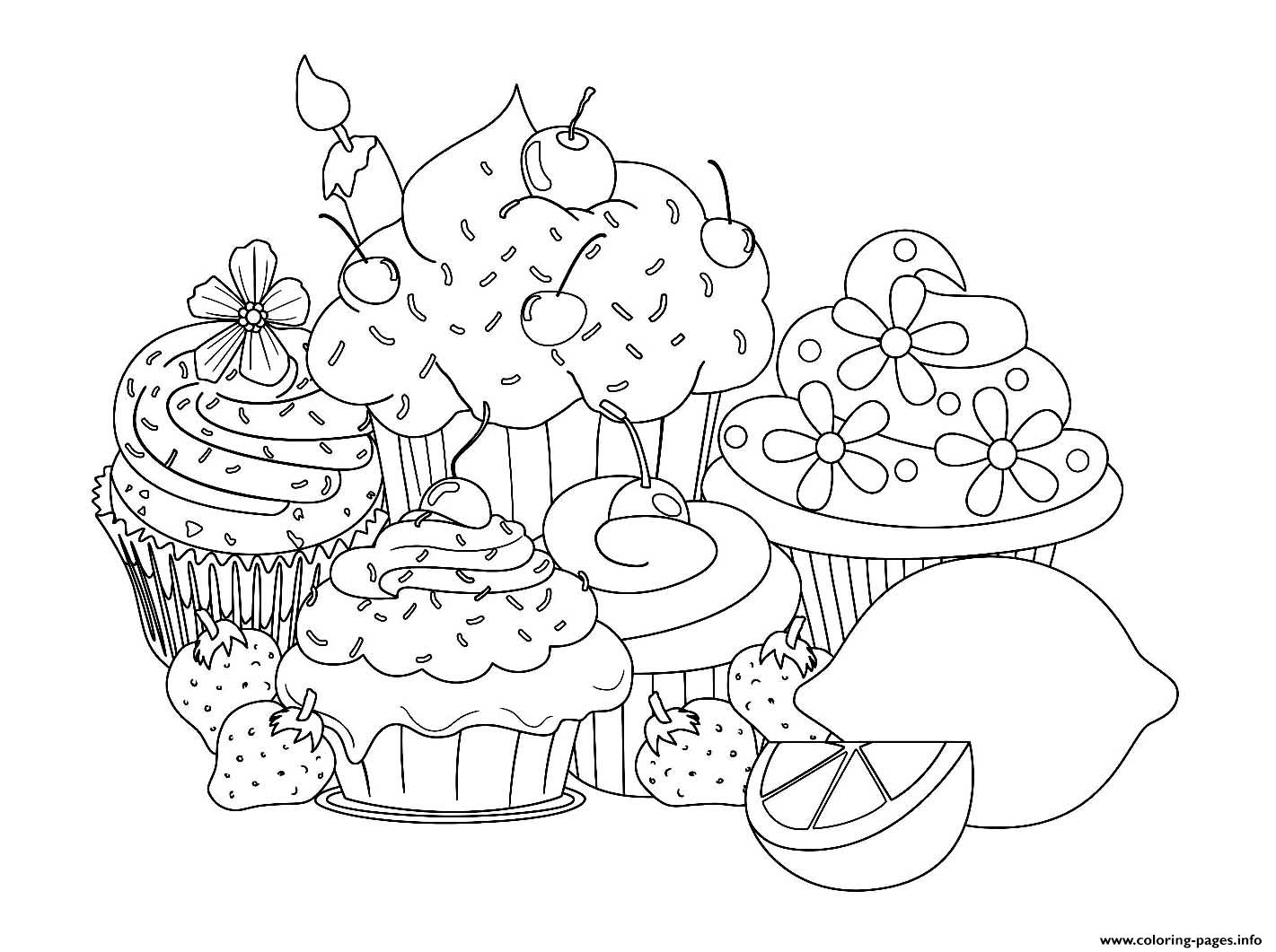 Beautiful Sweet Cupcakes Coloring Pages Printable