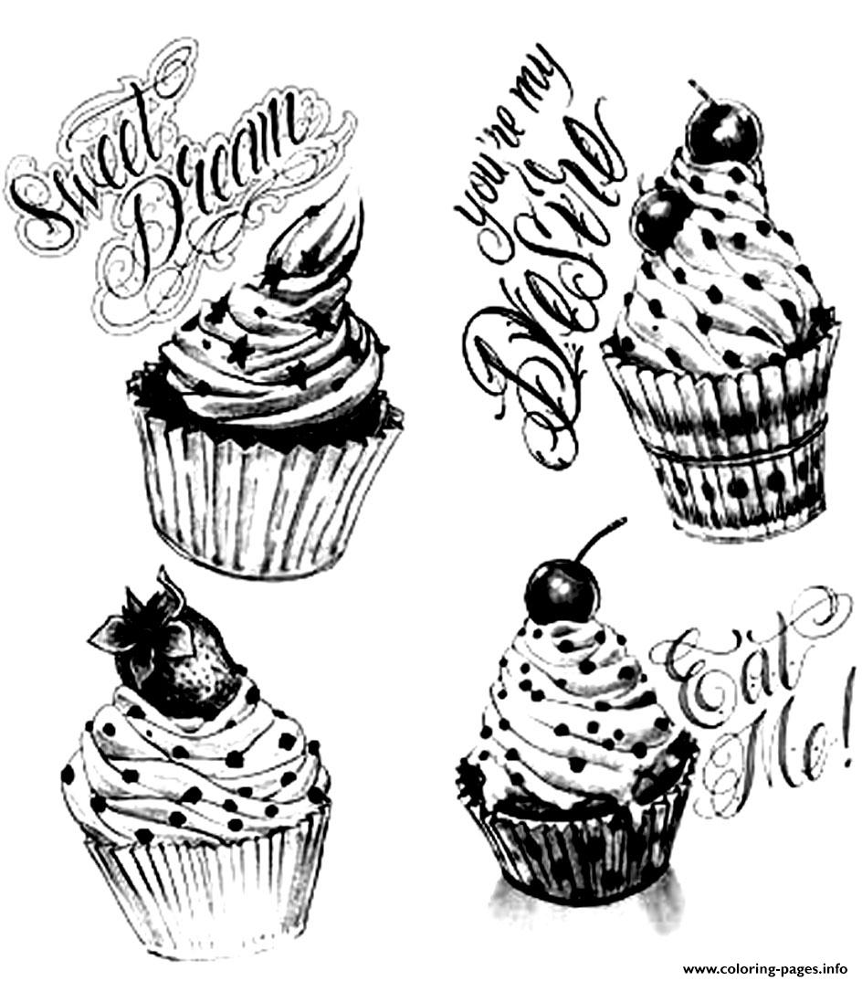 Coloring Adult Cupcakes Vintage coloring pages