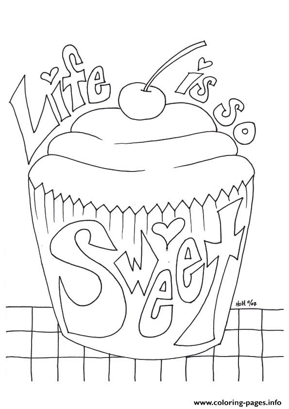 The Cupcake With A Message Sweet coloring pages