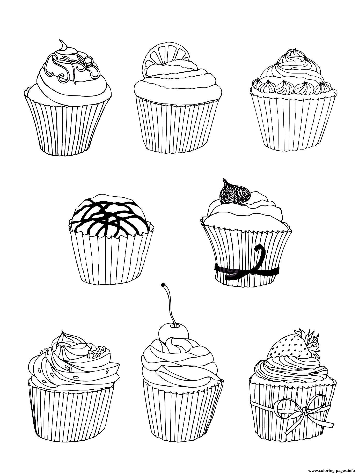 Free Cupcakes coloring pages