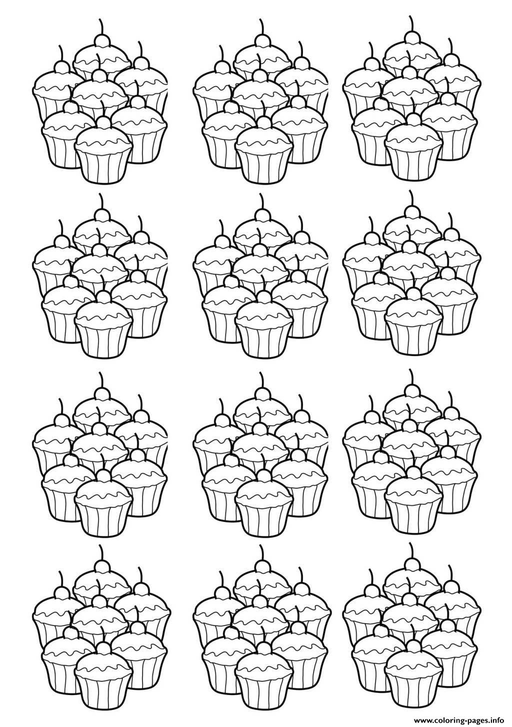 Adult Cupcakes Mosaique Coloring