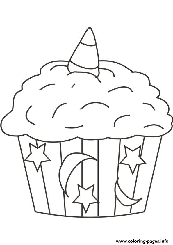 Halloween Cupcake Star Moon Coloring Pages Printable
