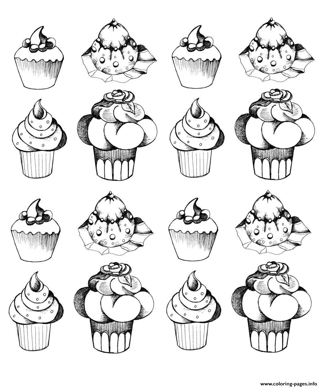 Adult Cupcakes Oldstyle Coloring Pages Printable