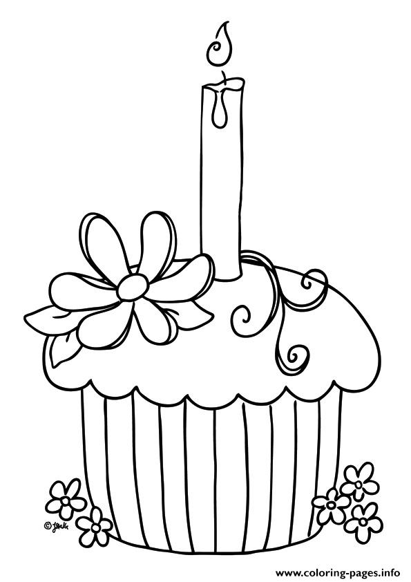 Birthday Cupcake Coloring Pages Print Download