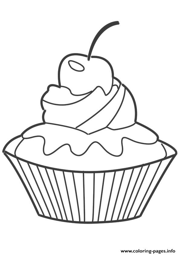 Cup Cake Coloring Pages For Preschoolers : Cupcake Coloring Berry Coloring Pages Printable