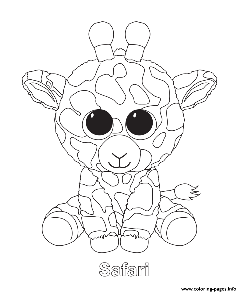 Safari Beanie Boo Coloring Pages Printable
