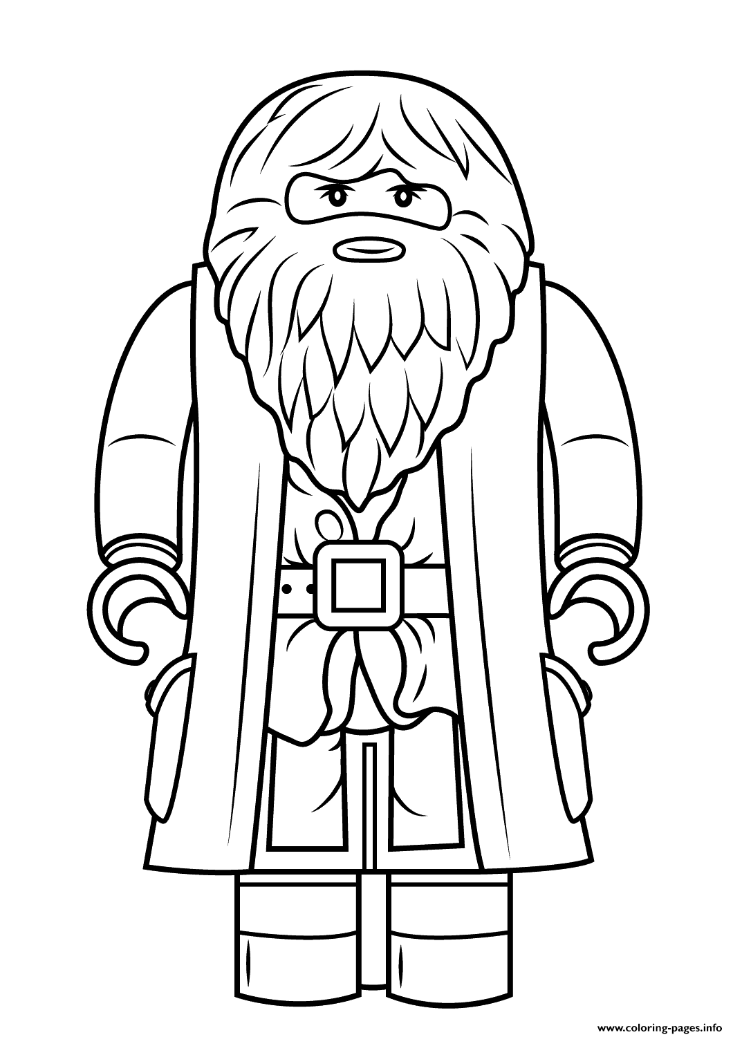 Harry potter coloring pages printable - Lego Rubeus Hagrid Minifigure Harry Potter Coloring Pages