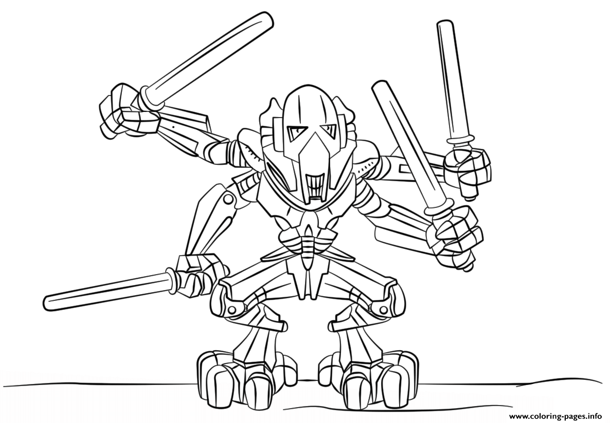 lego general grievous coloring pages