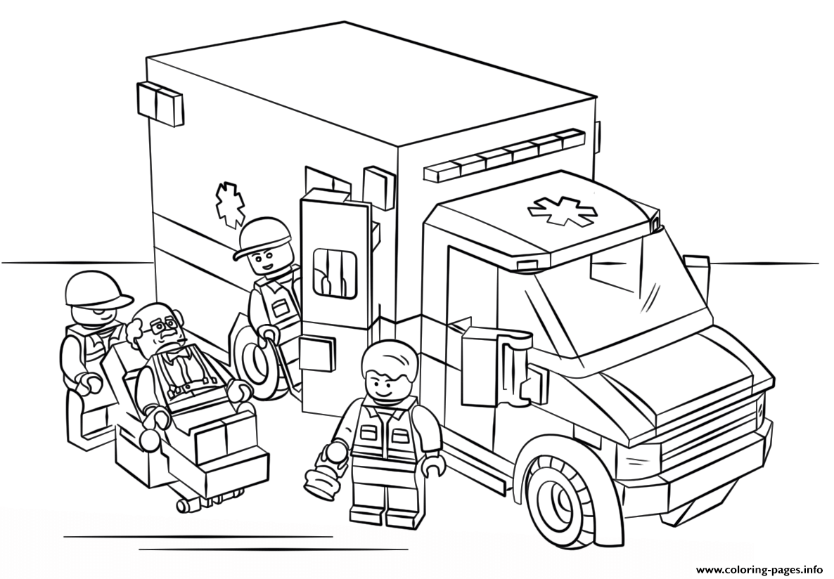 Lego ambulance city coloring pages printable for Free printable lego coloring pages for kids