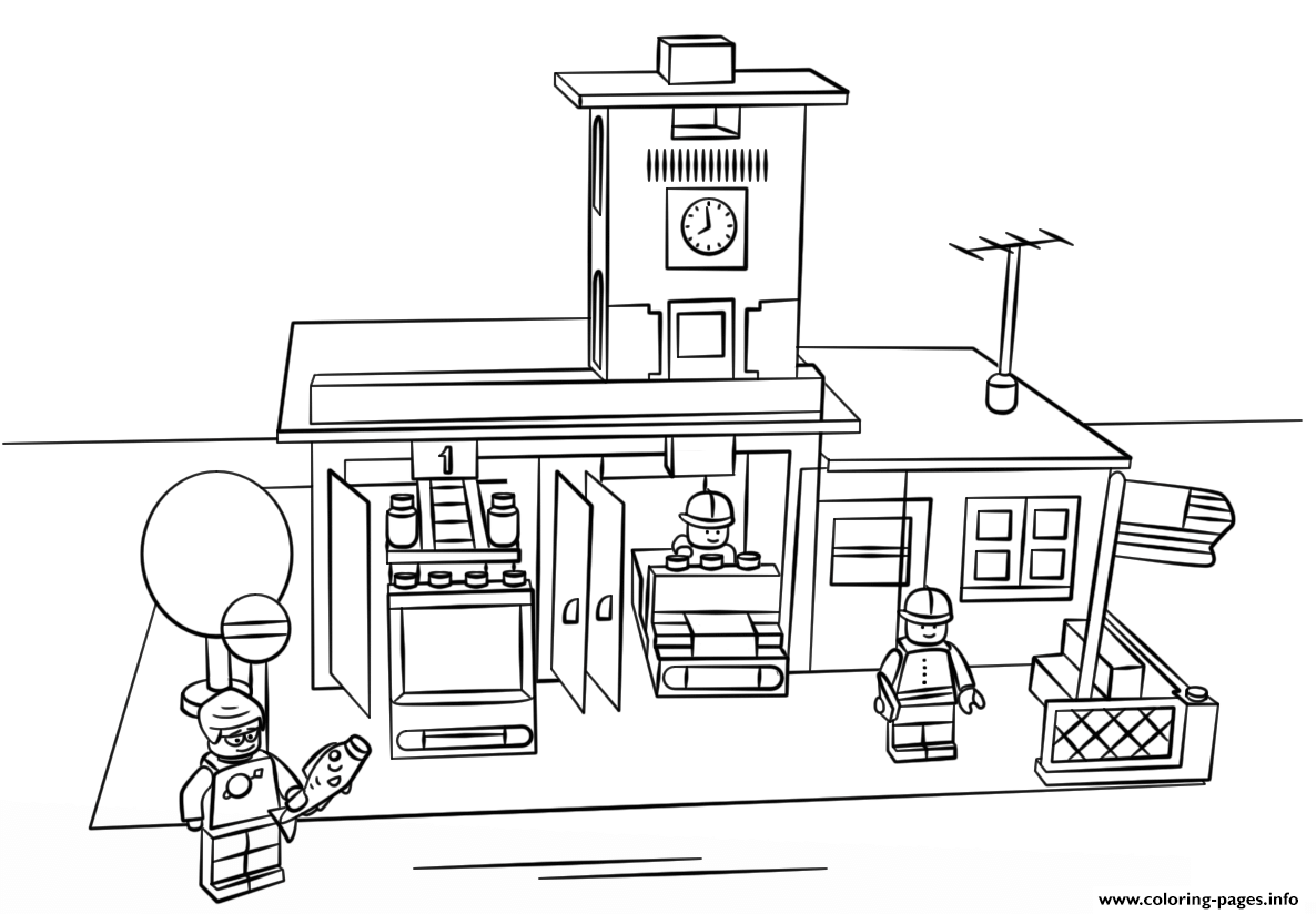 lego fire station coloring pages - photo#1