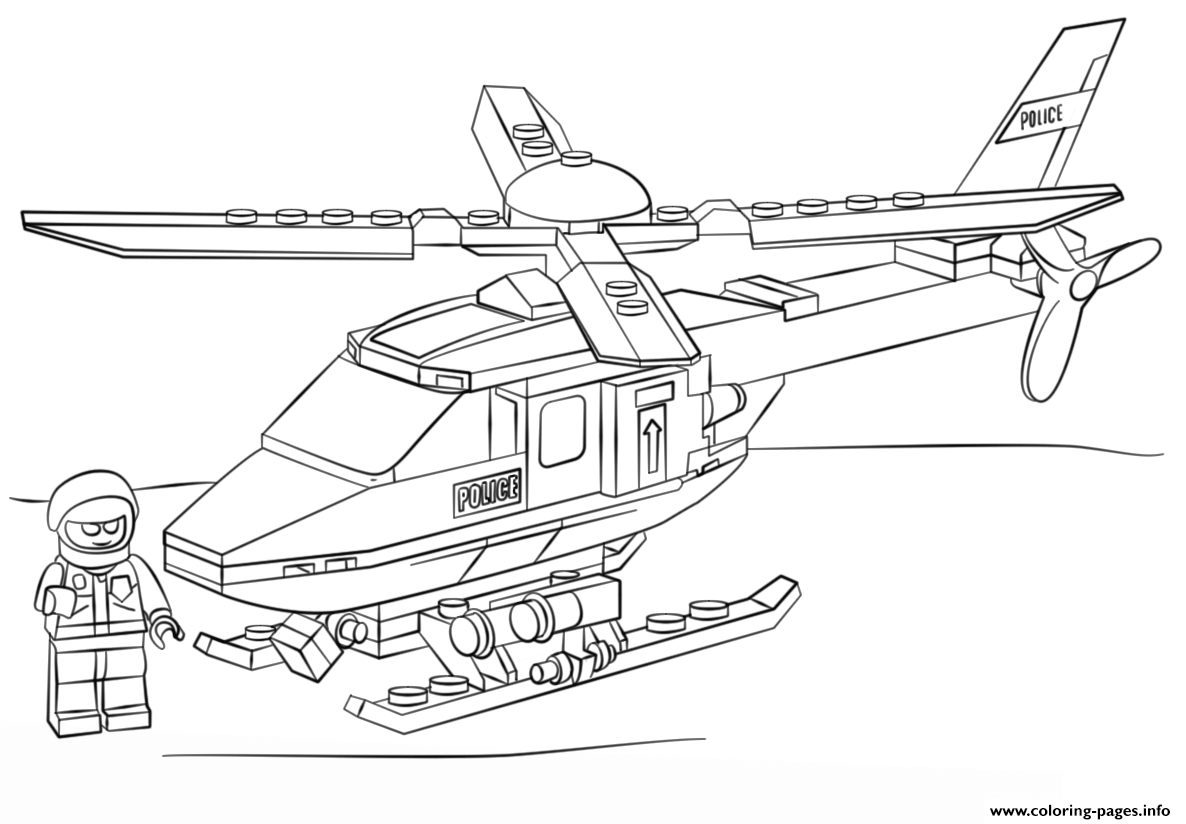 lego police helicopter city coloring pages printable