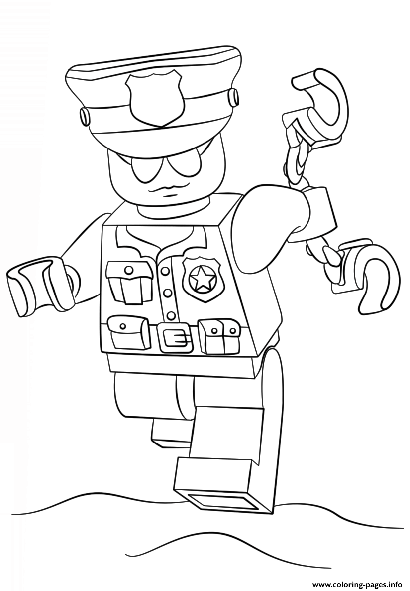 city coloring pages - lego police officer city coloring pages printable