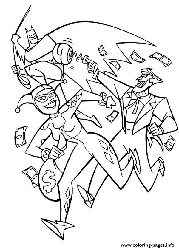 batman joker together harley quinn coloring pages printable
