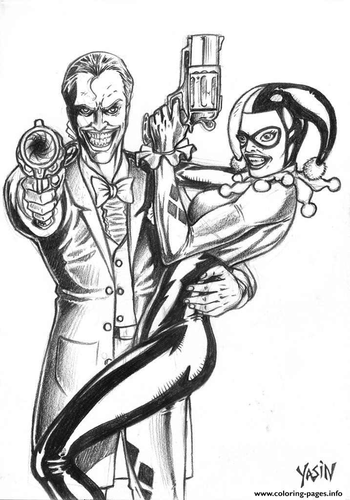joker coloring pages - joker and harley quinn by yasinyayli harley quinn coloring