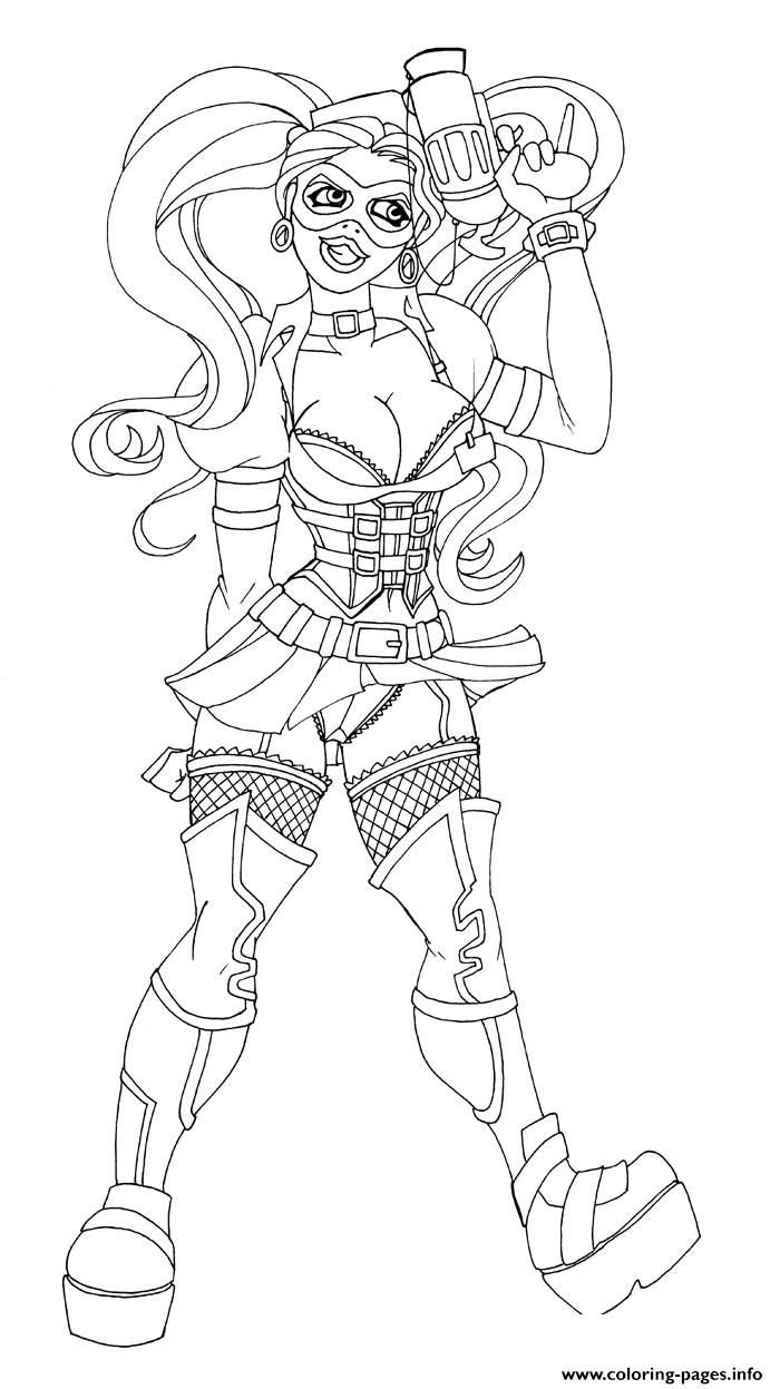 gun harley quinn coloring pages printable