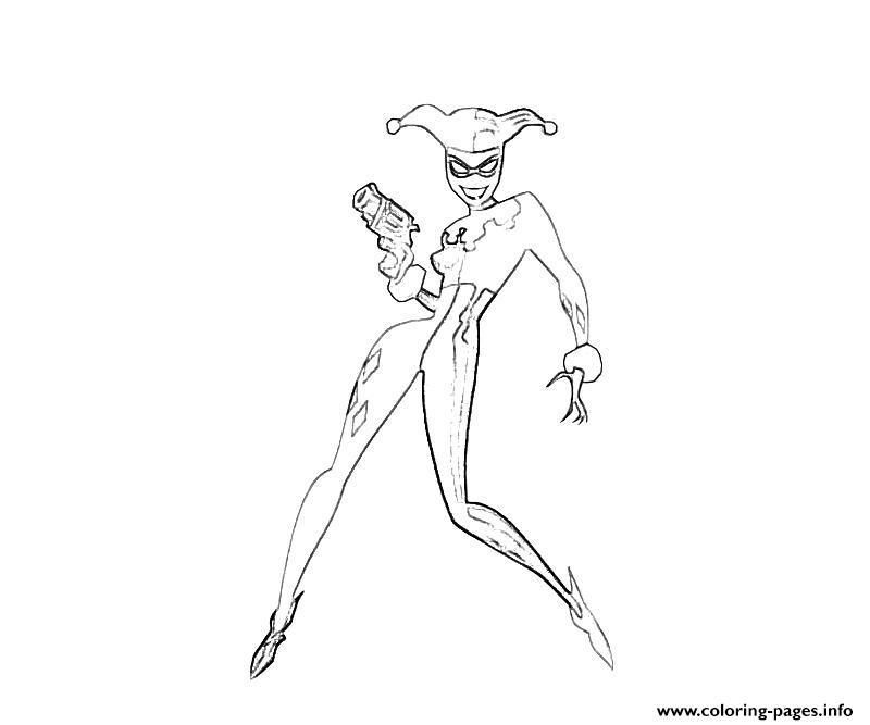 Print With A Gun Harley Quinn Coloring Pages