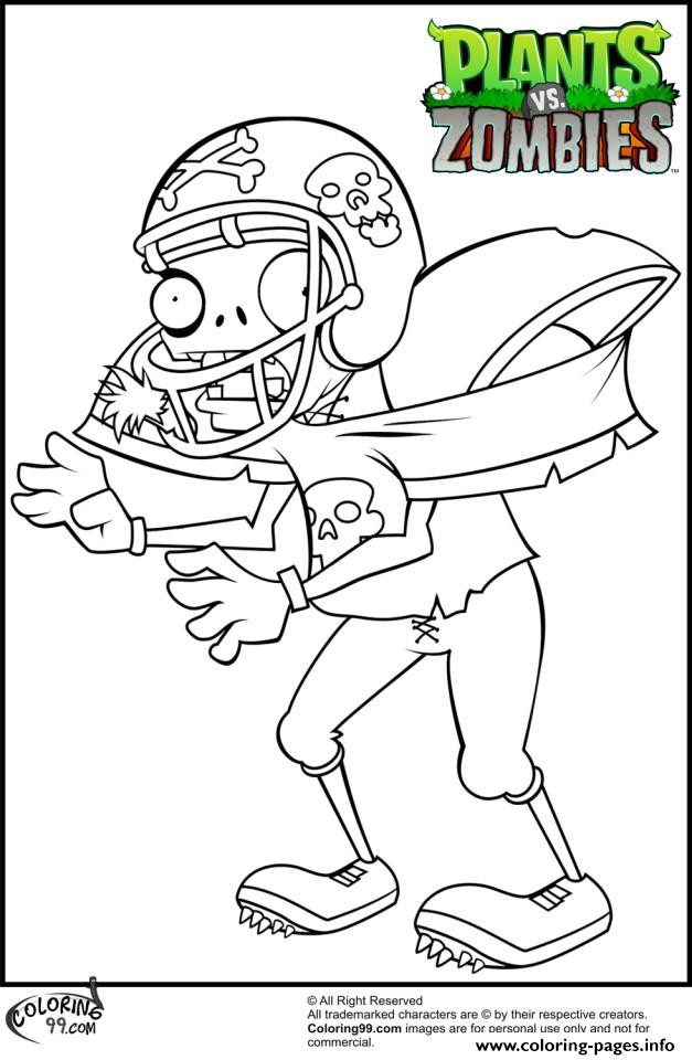 Football Player Plants Vs Zombies Coloring Pages Printable