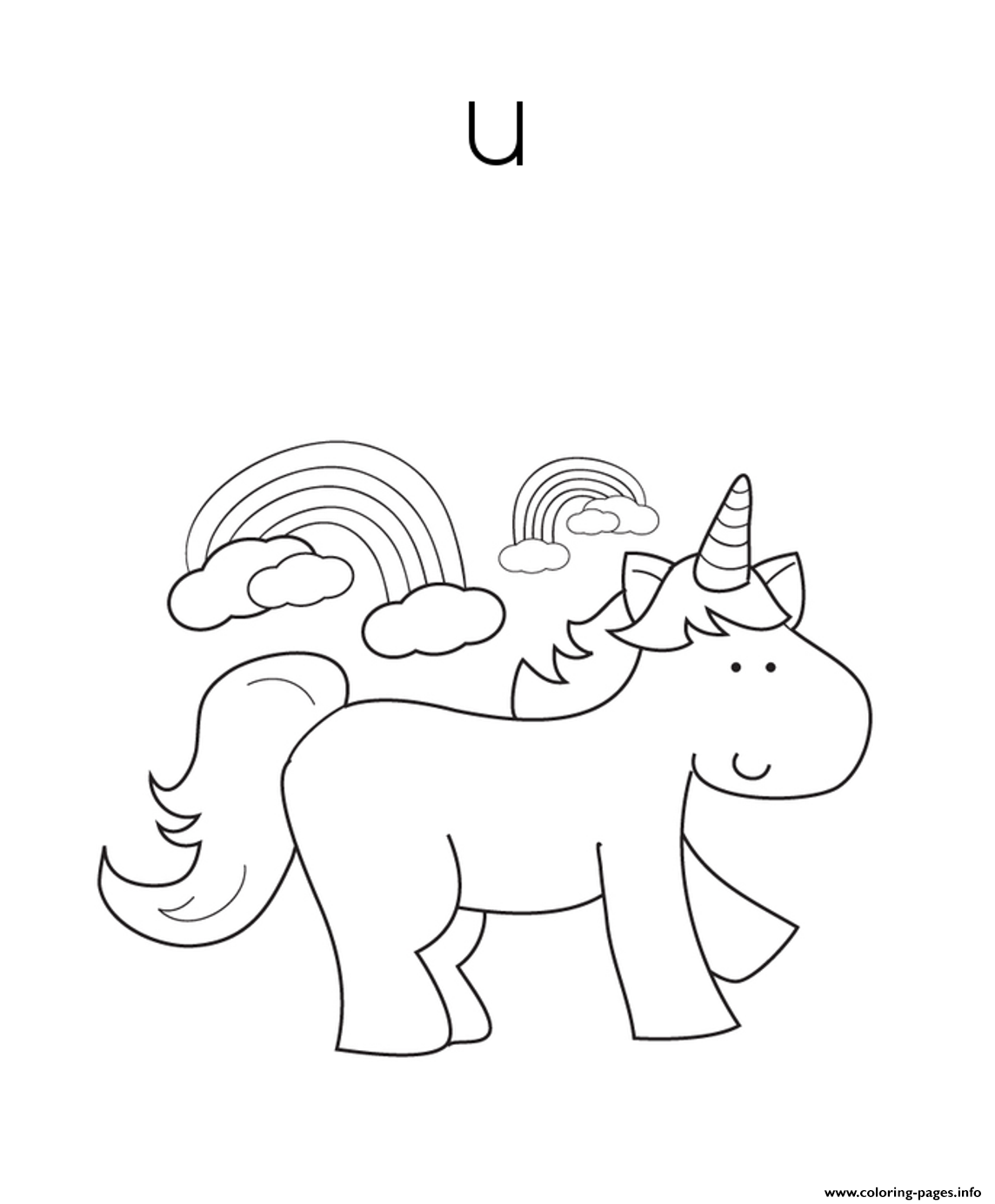 Cute Unicorn Alphabet S Free72ce coloring pages