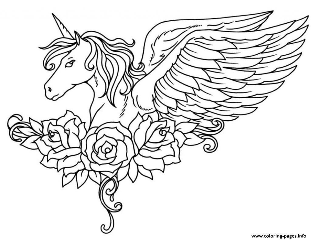 Unicorn coloring pages to print - Ornate Winged Unicorn Flowers Colouring Print Ornate Winged Unicorn Flowers Coloring Pages