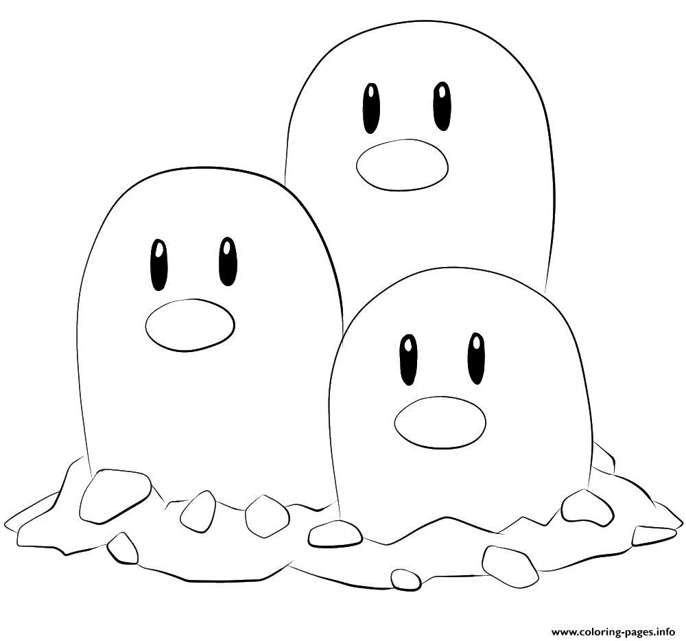 051 dugtrio pokemon coloring pages printable