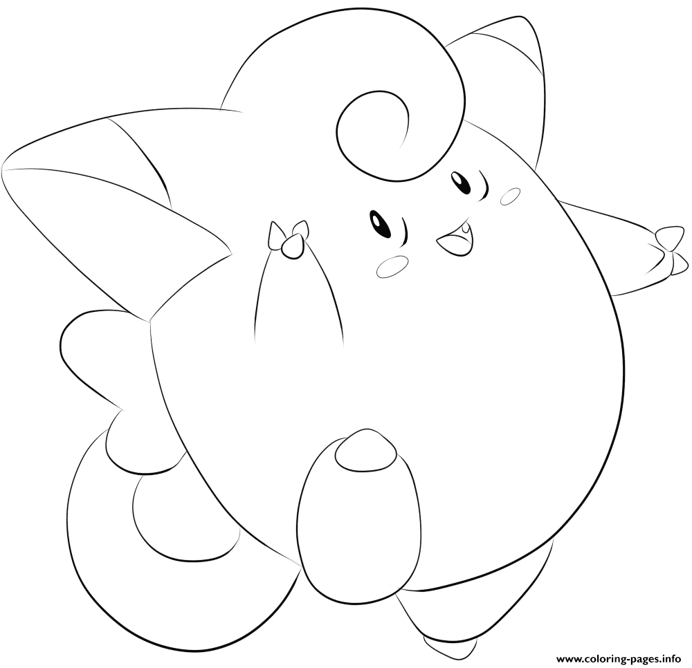 035 clefairy pokemon coloring pages printable