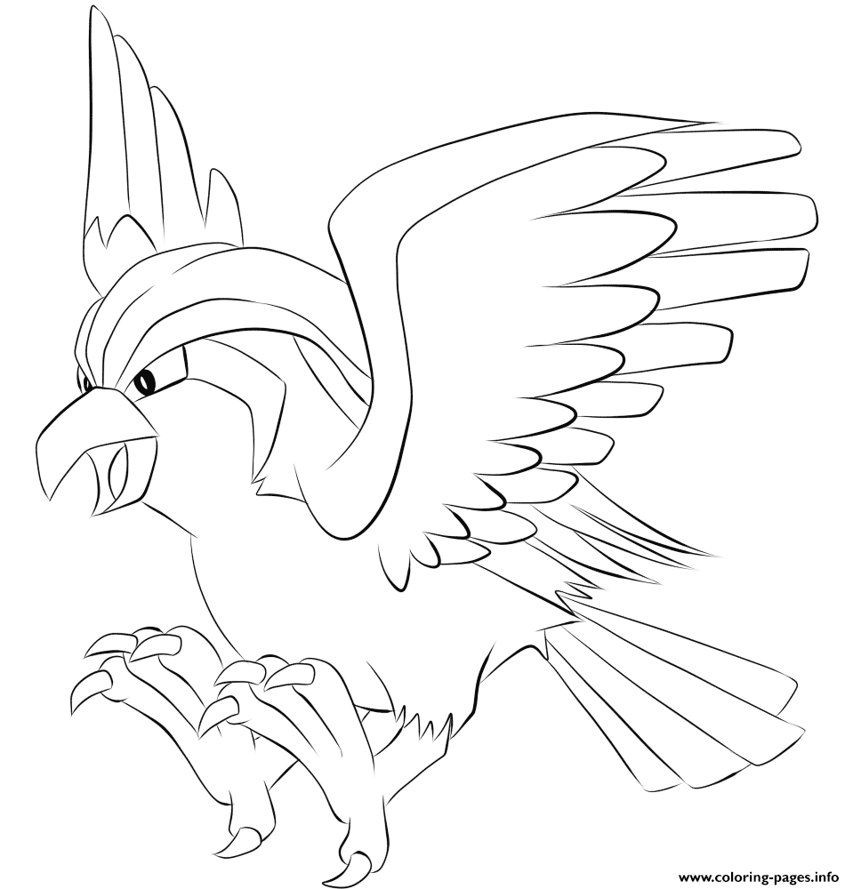 018 pidgeot pokemon coloring pages printable