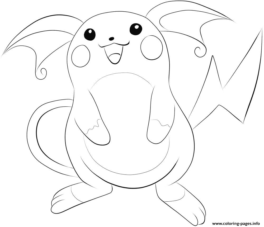 026 raichu pokemon coloring pages printable