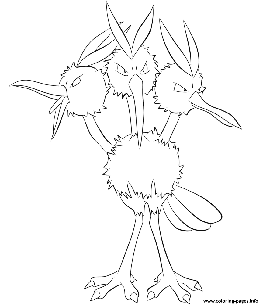 085 Dodrio Pokemon Coloring Pages