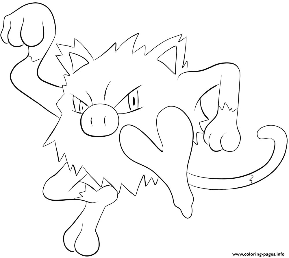 056 mankey pokemon coloring pages