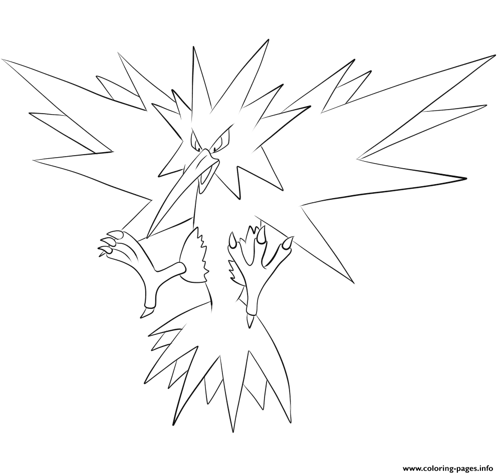 145 Zapdos Pokemon Coloring Pages Printable